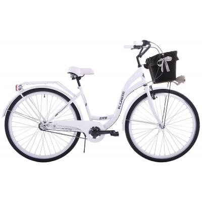 """Mestský bicykel 26"""" Kozbike 26K08-S3 3 prevodový Biely + košík + výstelka (čierna)"""