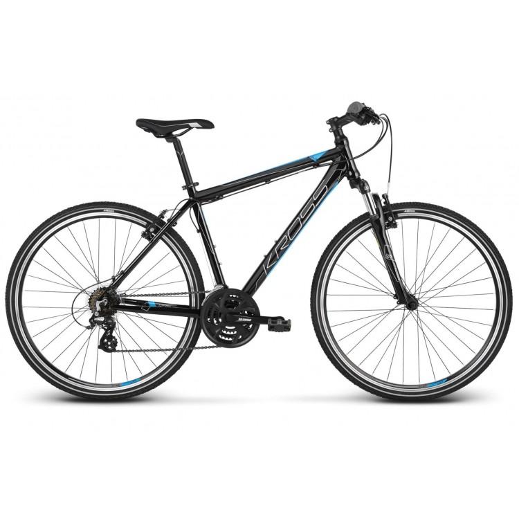 Krossový Bicykel 28 Kross Evado 2.0 Pánsky M Čierno-modrý lakovaný