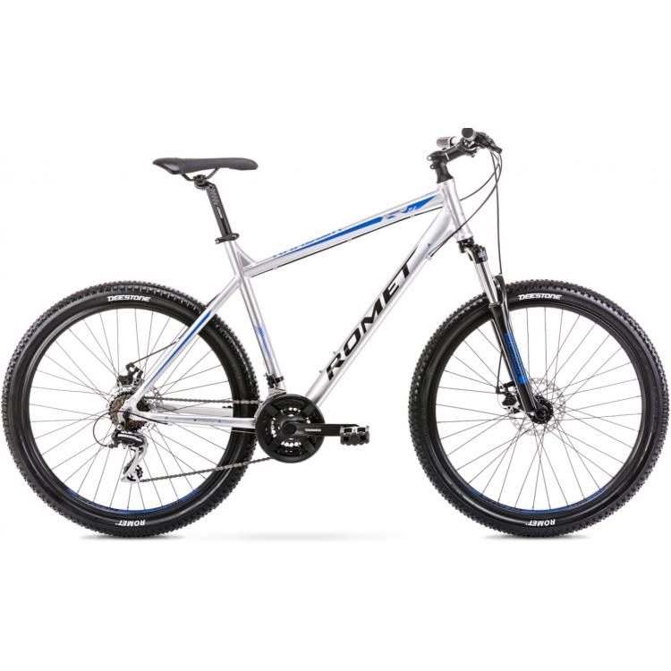 """Horský bicykel 27,5"""" Romet Rambler R7.1 strieborno-modrý XL hliníkový 21"""""""