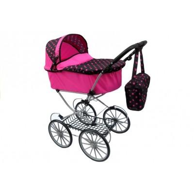 Hlboký retro kočík pre bábiky ružovo-čierny