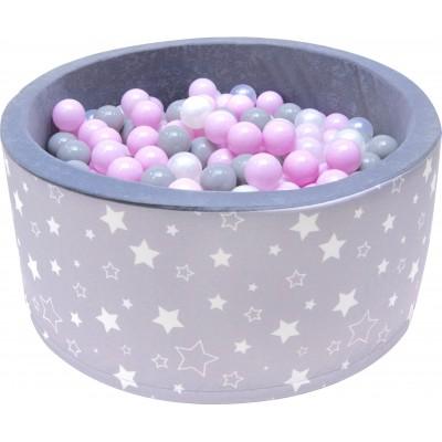 Suchý bazén s loptičkami Welox fun - hviezdičky, sivý