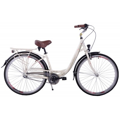Mestský bicykel 28 Fuzlu New Jersey 3S Krémový Hliníkový