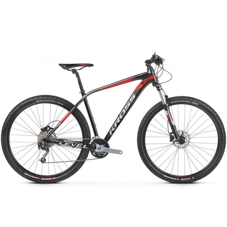 Horský bicykel Kross 29 Level 5.0 M Čierno-červeno-strieborný lesklý