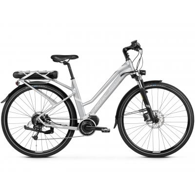 """Elektrický bicykel 28"""" Kross Trans Hybrid D 3.0 M 17"""" Strieborno-biely, matný"""