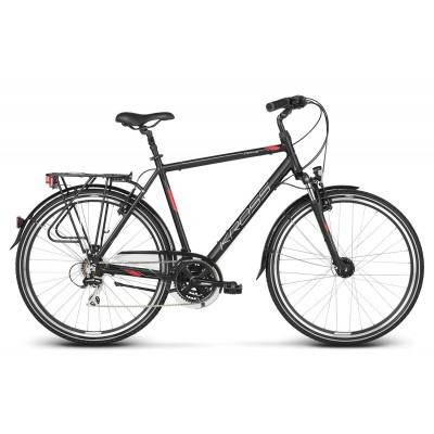 Trekingový bicykel 28 Kross Trans 3.0 Pánsky L Čierno-červeno-strieborný matný