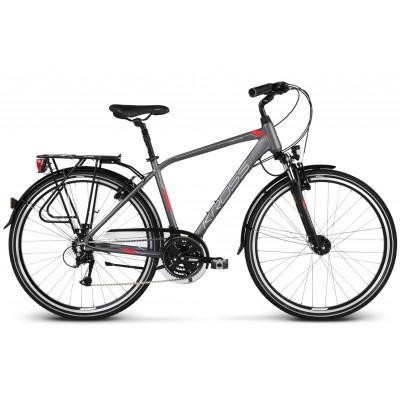 Trekingový bicykel 28 Kross Trans 4.0 Pánsky M Grafitovo-červeno-strieborný matný