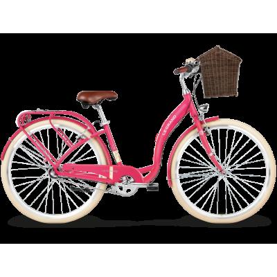 """Mestský retro bicykel Kross 28'' Le Grand Lille 5 3-prevodový Hliníkový 17"""" S Ružový, matný"""