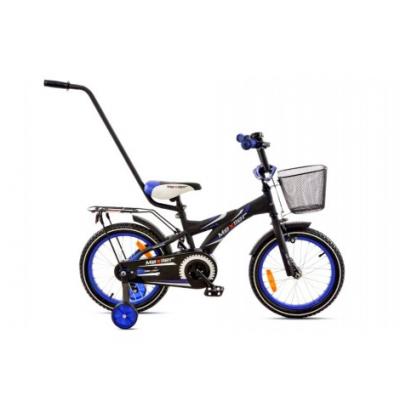 Detský bicykel 16 Mexller BMX Čierno-modrý matný + košík