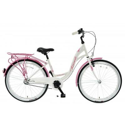 """Mestský bicykel 26 Kands Giulia 3-prevodový 15"""" lesklý Bielo-ružový"""
