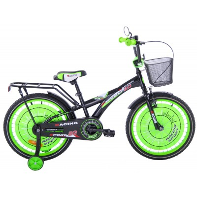 Detský bicykel 20 Fuzlu Racing Sport lesklý čierno-zelený