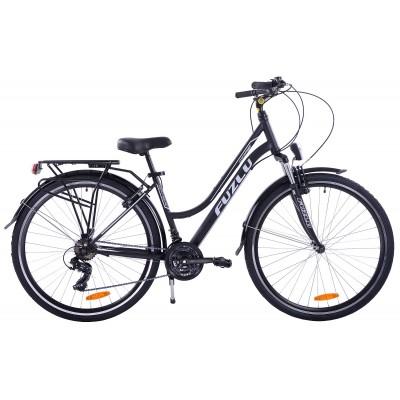 Trekingový bicykel Dámsky 28 Fuzlu Escape Čierno-biely, matný