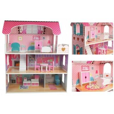 Drevený dvojposchodový domček pre bábiky