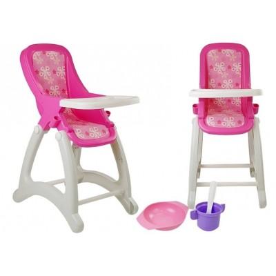 Detská stolička pre bábiky s príslušenstvom - ružová