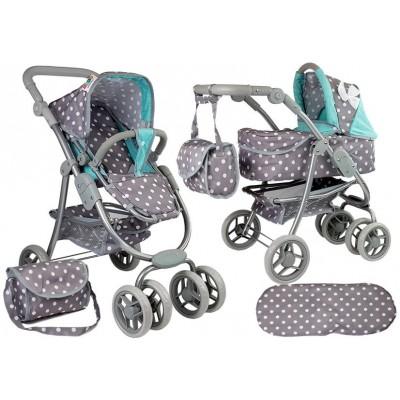 Kočík pre bábiky Alice 2v1  sivo – tyrkysový