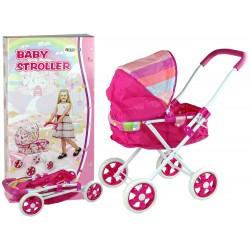 Kočík pre bábiky Ružový s farebným ši...