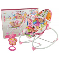 Detské hojdacie vibračné kreslo 2v1 ružo...