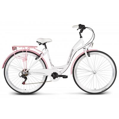 """Bicykel 26"""" VELLBERG HAVANA TY-300 7 Prevodový Biely, ružové blatníky + košík"""